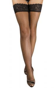 Hold-up fishnet stockings L-XL/black